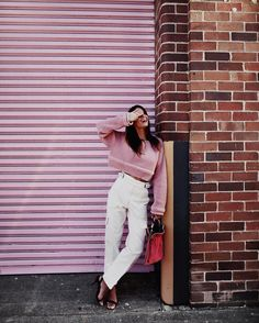I (definitely) have this thing with #PINK // #alexanderwang knit & shoes, #rachelcomey denim (full look from @shopbop) ✔️