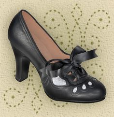 Aris Allen Women's 1930s Black and Silver Lace-up Heeled Oxford Shoes - reproduction shoe