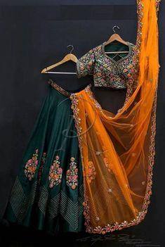 Dark Green and Orange Combination Lehenga Choli Set