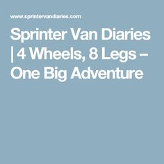 Sprinter Van Diaries   4 Wheels, 8 Legs – One Big Adventure
