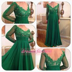 New Gorgeous Long Length Plus Size Mother of the Bride Dress Sheer Lace Sleeve Vestidos de madrinha Formal Green Gowns $148.00