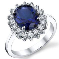 Pura sólidos genuinos de ley 925 de lujo británica Kate princesa lady Diana William anillo de compromiso de zafiro la joyería de la reproducción