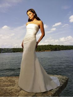 A-line Satin Ruched Bodice Strapless Neckline Sweep Train Wedding Dresses