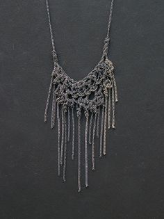 small fringe oxidized silver crochet necklace. via Etsy.