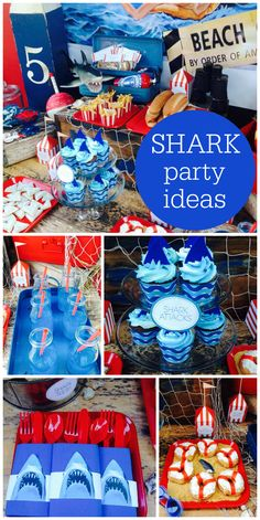 Jaws shark themed boy birthday party with shark cupcakes, life preserver donuts and a fun backdrop! See more party planning ideas at ! Party Themes For Boys, 5th Birthday Ideas For Boys, Shark Party, Ocean Party, Shark Cupcakes, Boy Birthday Parties, Life Preserver, Party Planning, Halloween