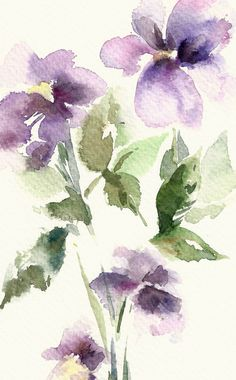Original Watercolor Painting Abstract Flowers Purple by CanotStop