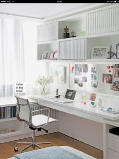 Browse pictures of home office design. Here are our favorite home office ideas that let you work from home. Shared them so you can learn how to work. Home Office Space, Small Office, Home Office Design, Home Office Furniture, Home Office Decor, House Design, Office Ideas, Office Designs, White Office