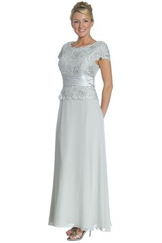 #1073J--Olive Lace Top Chiffon Skirt Mother of Bride/Groom Formal Wedding Long Gown(7 Colors--S to 4XL)