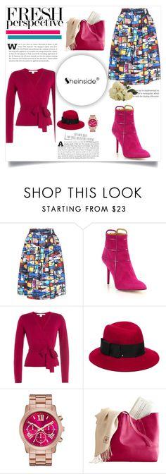 """Multicolor Print Midi Skirt"" by bhattasharmaluna ❤ liked on Polyvore featuring Charlotte Olympia, Diane Von Furstenberg, Kate Spade, skirt, midi, print, multicolored and shein"