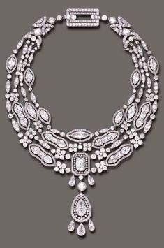 A MAGNIFICENT BELLE EPOQUE DIAMOND AND PEARL PENDANT NECKLACE, BY CARTIER The pear-shaped diamond pendant, within an openwork single-cut diamond frame, enhanced by three pear-shaped diamond tassel terminals, suspended by a pearl,  joined to the four-strand pear, marquise and French-cut diamond festoons, with single and old European-cut diamond trim and florets, further enhanced by an old European-cut diamond openwork clasp of geometric design, mounted in platinum, circa 1908