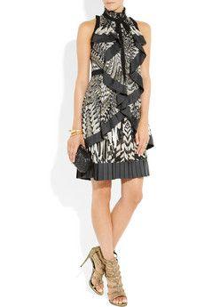 Roberto Cavalli- Python-print silk-georgette dress