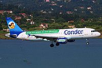 Condor (DE) Airbus A320-212 D-AICC aircraft, with the sticker ''ENGEL AUF REISEN. SO GEHT SACHSICH=Angel to travel. So goes Saxony'' on the airframe, painted in ''Simply Saxony'' special colours Dec. 2014 - Jan. 2016, on short finals to Greece Kerkyra Ioannis Kapodistrias International Airport. 16/06/2015.