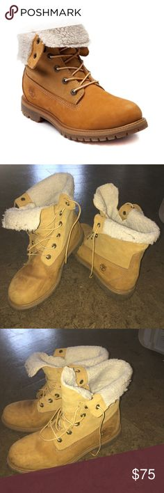 Like New Fur Lined Timberland Woman's Boots Fur-lined Timberland boots in great condition!! They are   women'a size 10. I've only worn them twice before deciding they aren't my style ☺️☺️ Timberland Shoes Combat & Moto Boots