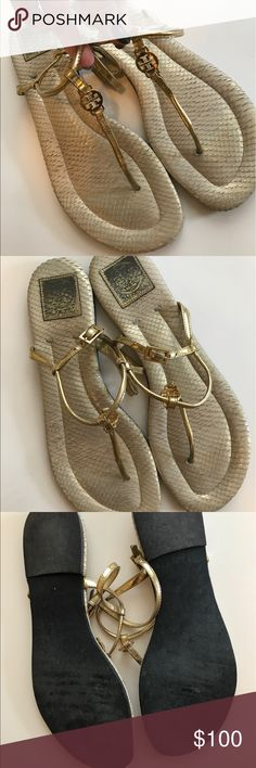 Tory Butch gold sandals GORGEOUS Tory Butch gold sandals perfect for spring and summer! They're too big on me. They are 10.5 but fit like a 10 so listing as such. Super cute and gently worn around the tips as shown in pictures! Tory Burch Shoes
