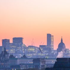 London skyline at sunrise.