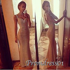 #promdress01 prom dresses - 215 Sexy straps open back golden mermaid prom dress for teens, ball gown, occasion dress #prom2015 #promdress -> www.promdress01.c... #coniefox #2016prom