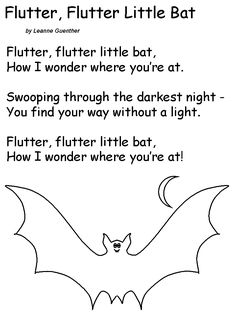 Flutter Flutter Little Bat Song Fall Preschool, Preschool Songs, Kids Songs, Halloween Activities, Halloween Songs For Toddlers, Kindergarten Poetry, Circle Time Activities, Stellaluna, Poetry For Kids