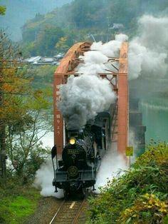 Steaming across the bridge.
