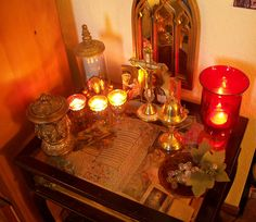 Great selection of photos of beautiful home altars!  So many amazing ideas!!!