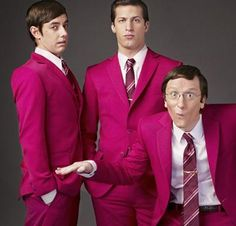 Andy Samberg, Akiva Schaffer and Jorma Taccone aka The Lonely Island, Chasing their dreams and doing the things they love, you guys are an example for an entire Jorma Taccone, Andy Samberg, Jimmy Kimmel Live, Pink Suit, Saturday Night Live, Celebs, Celebrities, Attractive Men, Man Humor