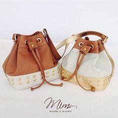 Bolsas mini brigadeiro em creme, marrom canela e dourado #minibag #criesuabolsa #bucketbag