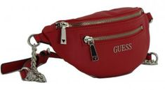 !!!Hüfttasche Guess Red Kettengürtel rot Caley Mini Suitcase, Mini, Fanny Pack, Artificial Leather, Red, Bags, Briefcase