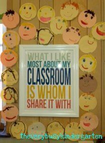 we made faces this year but I love the sign for the middle! beginning of the year classroom decor.