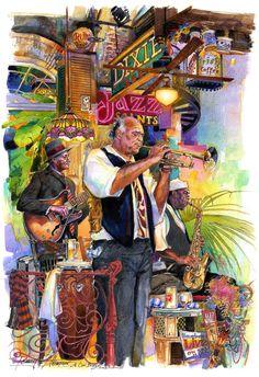 A Cool Breeze New Orleans Art, Jazz Music Art, Famous Artists, Americana Art, Art Music, Vintage Music Art, Jazz Art, Art, Music Art