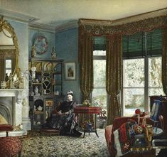 Lady seated in her morning room,1878 ~ Julius Ehrke ~ (British, 1837-1890)