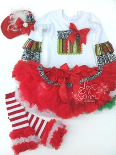 Holiday Tutu Outfit Ruffle Top with Petti by babyandmedesigns, $59.00  A Sneak Peak of what's to come from Love