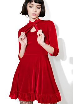 Valfré Cecilia Velvet Dress yr the image of romance, bb~ This gorgeous dress features a plush red velvet construction, flirty flared skirt with ruffle trim, cropped sleeves, keyhole chest cutout, and front bow tie closures.