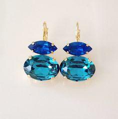 Cobalt blue and Teal Statement earrings, Swarovski crystal drop earrings, something blue bridal earrings, bridal jewelry, bridesmaid gift Simple Earrings, Blue Earrings, Statement Earrings, Drop Earrings, Bridesmaid Jewelry, Bridesmaid Gifts, Wedding Jewelry, Swarovski Crystal Earrings, Crystal Bracelets