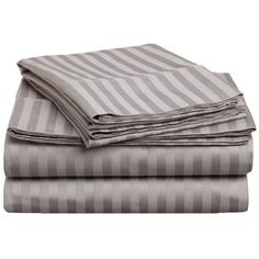 Brayden Studio Mayne 400 Thread Count Premium Long-Staple Combed Cotton Stripe Sheet Set Size: Twin, Color: Gray