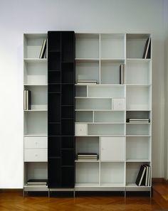 Boekenkast in zwart en wit met diepteverdeling - ABC Quadrant - Designkasten - Kasten - Lundia