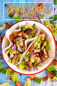 These Grilled Chicken Tacos are healthy and light, and the perfect base to add on loads of extra toppings to create a taco that will suit everyone's taste! Simple marinated grilled chicken with a crispy avocado salsa on soft tortillas. Fish Recipes, Beef Recipes, Mexican Food Recipes, Chicken Recipes, Dinner Recipes, Healthy Recipes, Bbq Chicken, Lunch Recipes, Yummy Recipes