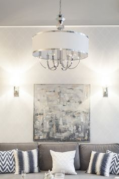 """Painting """"The Beginning"""" in Mint Grey interior boutiqe, photo by www.homecreations.pl"""