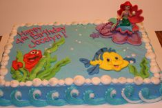 little mermaid cake Little Mermaid Cakes, Mermaid Birthday Cakes, Little Mermaid Birthday, Little Mermaid Parties, Birthday Cake Girls, The Little Mermaid, 5th Birthday Party Ideas, Birthday Fun, Barbie Birthday