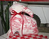 red & white toile bunny