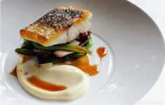 Escalope of wild sea bass with sautéed smoked bacon, red chicory, runner beans and red wine sauce - Matthew Tomkinson
