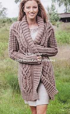 61629fa60 Ladies Stunning All-round Cable Jacket Knitting Pattern Chunky  Bulky  Cardigan Robe Coat Knitting Pattern Instant Download PDF - 558