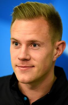 Marc Andre ter Stegen is seen during a FC Barcelona press conference on the eve of the UEFA Champions League groupe E match against Bayer Leverkusen at BayArena on December 8, 2015 in Leverkusen, Germany.