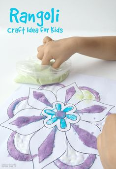 Explore indian art with this Rangoli craft idea for kids using flowers. A colorful way to explore rangoli designs as you learn about India and Diwali.