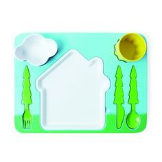 The Landscape Dinner Set brings color and fun to the dinner table. Its design is inspired by kids drawings. This handy all-in-one melamine tray includes a plate, cup, dessert/dipping bowl and cutlery.