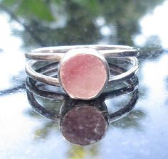 Rose Quartz Ring Size 7  Hammered Silver Ring with Pink