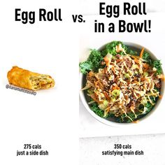food possible text that says Egg Roll Vs Egg Roll in a Bowl 275 cYou can find Easy meals and more on our website.food possible text that says Egg Roll Vs. Low Calorie Recipes, Easy Healthy Recipes, Easy Meals, Healthy Dinners, Kid Meals, Clean Recipes, Rice Recipes, Keto, Egg Rolls