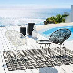 Poltrona da giardino impilabile in fili di resina e metallo nero | Maisons du Monde
