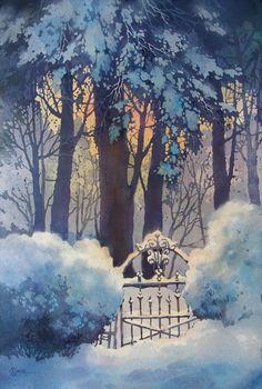 Galleries of Available Paintings - Alexis Lavine: Luminous Watercolors & Inspiring Art Instruction . Watercolor Landscape, Watercolour Painting, Painting & Drawing, Landscape Paintings, Watercolours, Art Aquarelle, Wow Art, Winter Art, Winter Blue