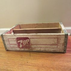 Vintage Crate 7up crate wooden crate by oZdOinGItagaiN on Etsy, $25.00