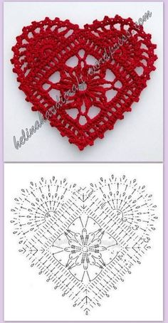 Crochet Heart Motif - Free Crochet Diagram - Then just add your…pretty crochet heart by Stoeps; i like the miniature flower budsDiscover thousands of images about pretty crochet heartPatrones Crochet Corazones San Valentin - Crochet and KnitDelicad Crochet Diagram, Crochet Chart, Thread Crochet, Crochet Stitches, Applique Stitches, Crochet Flower Patterns, Crochet Flowers, Crochet Doilies, Crochet Owls