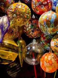 Italian Christmas baubles, Murano, Venice, Italy